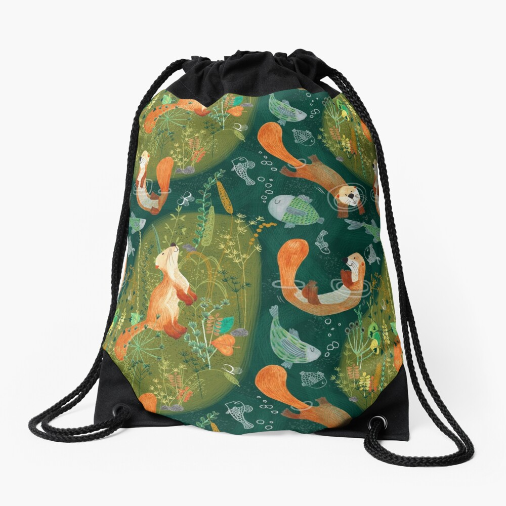 Pattern 74 - Playful otters by the river  Drawstring Bag Front