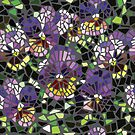 mosaic purple pansy by jackiejeanq