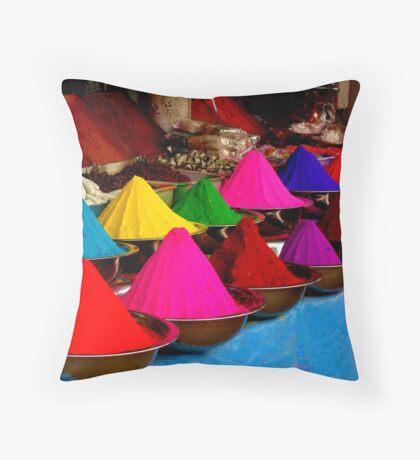 Colourful tikka powder Throw Pillow
