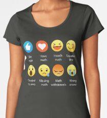 I Love Math Emoji Emoticon Funny Mathematics Graphic Tee Shirts Sarcastic Women's Premium T-Shirt