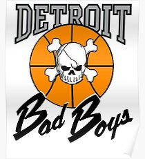 Vintage Detroit Bad Boys Detroit Pistons Basketball Poster