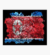 North Korea Vintage Flag Photographic Print