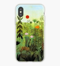 """Henri Rousseau """"Exotic Landscape with Lion and Lioness in Africa"""", 1903-1910 iPhone Case"""