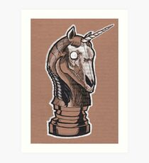 Macabre Unicorn Chess Piece Art Print