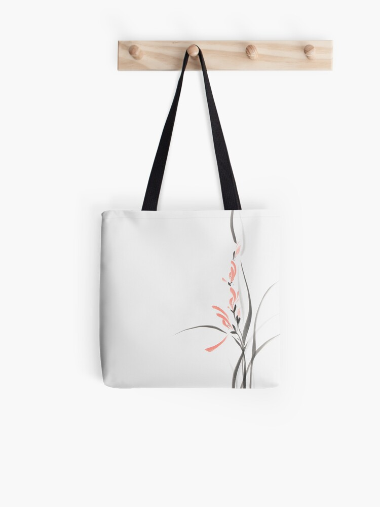 Elegant light coral red orchid flowers Japanese Zen Sumi-e painting on  white rice paper art print | Tote Bag