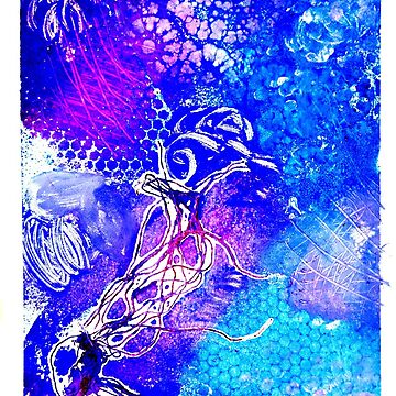 Jellyfish monoprint  by Prettayboyart