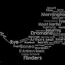Mornington Peninsula word cloud (black) by Jenny Wood