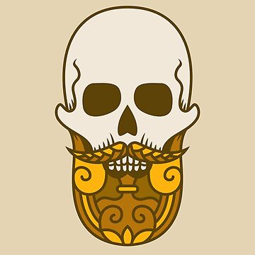 Golden Beard Sugar Skull Design by allovervintage