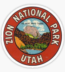 Zion National Park Utah USA Vintage Travel Decal Patch - The Great White Throne Sticker