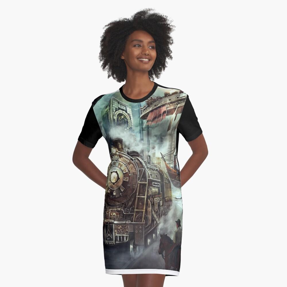Steampunk World Graphic T-Shirt Dress