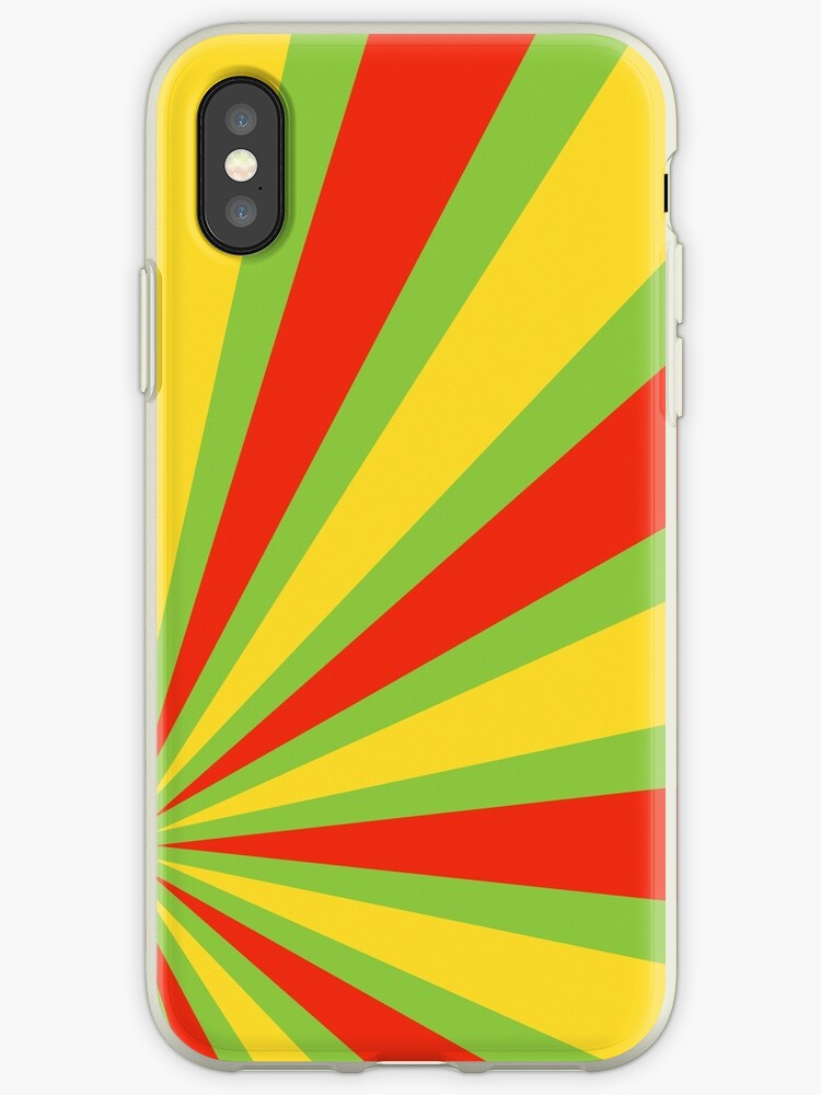 Green Red Yellow Starburst Abstract Art Iphone Case By Bruce Almighty Baker