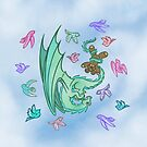 Dragon and Birds at play by hildurko