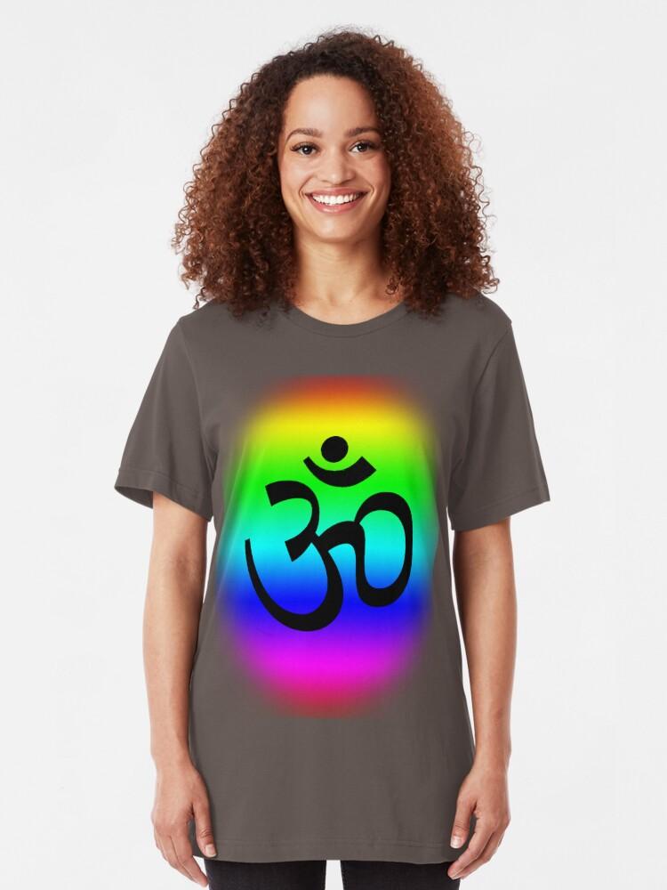 Alternate view of Rainbow Om Slim Fit T-Shirt