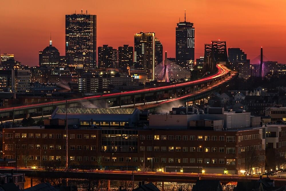 Boston and the Tobin Bridge at dusk. by mattmacpherson