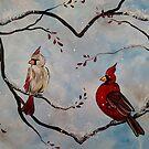Cardinal Pair, Winter Birds on a Branch by Melissa Fryer