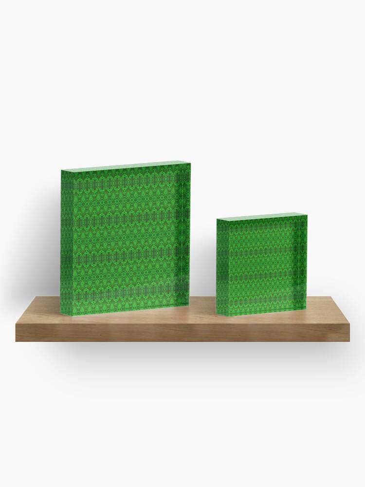 Alternative Ansicht von Unendlich wiederholtes Damast-Tapeten-Muster Acrylblock