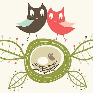 Happy Nesting Owls Family by fatfatin