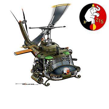 VNAF UH-1 Gunship Cartoon 215th HS by ACVuConcepts
