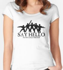 Say Hello To My Little Friends Guard - Black Women's Fitted Scoop T-Shirt