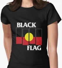 Black Flag Aboriginal Flag Design Women's Fitted T-Shirt