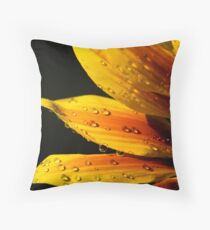 Yellow flower water droplets Throw Pillow