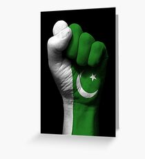 Flag of Pakistan on a Raised Clenched Fist  Greeting Card