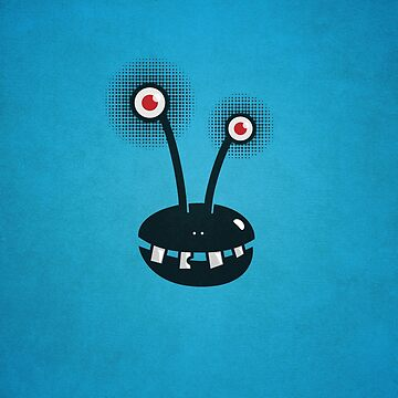 Funny Cartoon Alien With Halftone Eyes  by azzza