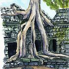 Ta Prohm in ink and watercolors by purplesparrow