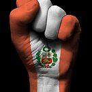 Flagge von Peru auf einer angehobenen geballten Faust von jeff bartels