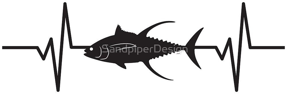 heartbeat pulse yellowfin tuna fish silhouette by