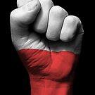 Flagge von Polen auf einer angehobenen geballten Faust von jeff bartels