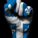 Flagge von Quebec auf einer angehobenen geballten Faust von jeff bartels