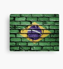 Brazil national flag painted on a brick wall Canvas Print