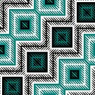 turquoise and white  geometric  by Christy Leigh
