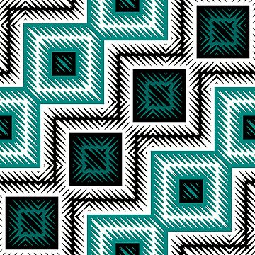turquoise and white  geometric  by erichristy