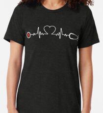 Nurse Heartbeat - Funny Lpn Icu Er Or Rn Nurse T-shirt Tee Gift Tri-blend T-Shirt
