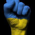 Flagge der Ukraine auf einer angehobenen geballten Faust von jeff bartels