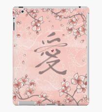 Rosa Pfirsichblüten und ewiges Liebes-Kalligraphie-Symbol iPad-Hülle & Klebefolie