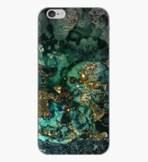 Vinilo o funda para iPhone Gold Indigo Malachite Marble