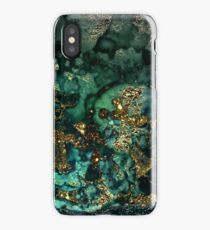 Gold Indigo Malachite Marble iPhone XS Case