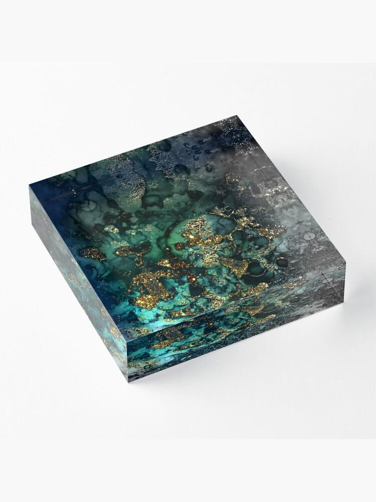 Alternative Ansicht von Gold Indigo Malachit Marmor Acrylblock
