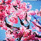 Abstract Swirling Cherry Blossoms Stained Glass Mosaic by Beverly Claire Kaiya