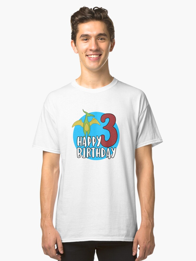Cute Green Pterodactyl Dinosaur Kids 3rd Birthday Party Classic T Shirt Front