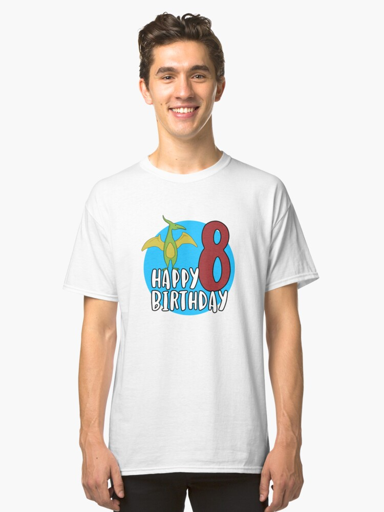 Cute Green Pterodactyl Dinosaur Kids 8th Birthday Party Classic T Shirt Front