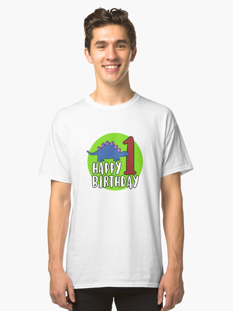 Cute Purple Stegosaurus Dinosaur Kids 1st Birthday Party Classic T Shirt Front