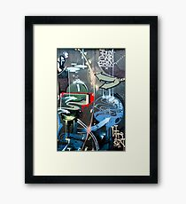 Graffiti Colorful detail on a textured wall Framed Print