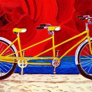 Yellow Tandem Bike by realartisbetter