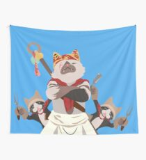 Meowscular Chef and his crew Wall Tapestry