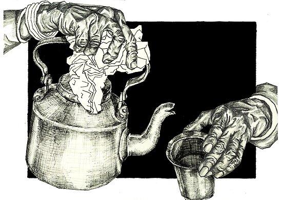 21585aa55a5 Geometric Indian Chai Tea Time Black and White Tea Cup and Teapot by  laramesanza