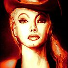 """""""THIS WAS BURLESQUE"""" - LILI ST.CYR COWGIRL CROP SUN TONES by LizSelleyArt"""